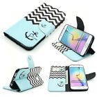F24 Blue Black Anchors Painting Stand Flip Leather Cover Case for Various Phones