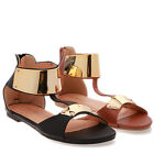 TheMogan Gold Metal Ankle Strap Flat Open Toe Sandals