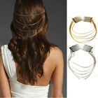 1x Womens Personality Gold/Silver 2 Combs Chains Fringes Hair Cuff Pin Head Band