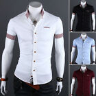 2015 Mens Luxury Casual Slim fit Stylish Dress Short Sleeve Shirt 4Colors 4Size