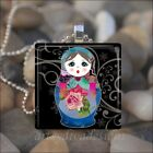 BABUSHKA DOLL MATRYOSHKA RUSSIAN STACKING DOLLS GLASS PENDANT NECKLACE  design 1