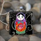 BABUSHKA DOLL MATRYOSHKA RUSSIAN STACKING DOLLS GLASS PENDANT NECKLACE design 4