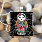 BABUSHKA DOLL MATRYOSHKA RUSSIAN STACKING DOLLS GLASS PENDANT NECKLACE design 8