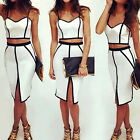 2015Sexy Women Bodycon Slimming Illusion Bandage Two Piece Crop Top and DressSet