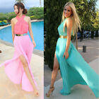 Sexy Summer Women Sleeveless Beach Long Dress Halterneck Clubwear Chiffon Dress