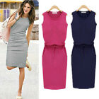 New Fashion Summer Women Sexy Sleeveless Slim Fit Laec Up Sundress Pencil Skirt