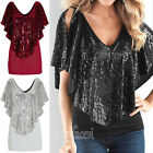 Ladies V Neck Loose Sequin T Shirt Blouse Batwing Short Sleeve Casual Tops S-XL