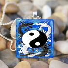 """DRAGON YIN YANG"" CHINESE DRAGONS YIN AND YANG GLASS PENDANT NECKLACE KEYRING"