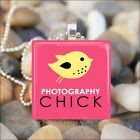 """PHOTOGRAPHY CHICK"" PICTURE PHOTO CAMERA LOVER GLASS PENDANT NECKLACE KEYRING"