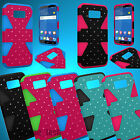 For ZTE Paragon Zephyr Lattice Bling Rhinestone Hybrid Dynamic Case Cover