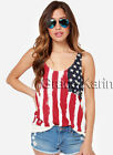American Flag USA Patriotic Lady Sleeveless Tank Top Tee T-Shirt PLUS SIZE S-3XL