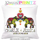 ❤PERSONALISED Elephant Cushion Wedding Anniversary Gift Valentine Christmas Love