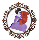 Geisha In Japanese Garden Embroidered Iron On Patches