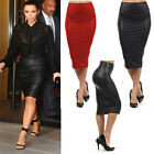 Womens Sexy Wet Look Faux Leather High Waist Pencil Bodycon Dress Midi Skirts