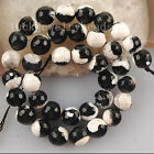 10mm Black White Agate Faceted Ball Loose Beads  FG6148