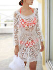 New Women Sexy White Hollow Out Lace Crochet Cover Up Long Sleeve Beach Swimwear