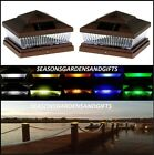 Solar Post Cap Deck Fence Color LED Lights 5x5 or 6x6 Copper Colored 2 Pack