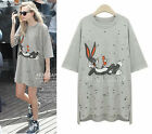 2015 Summer women cotton gray oversize loose shirt tops dress plus size