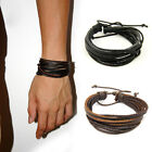 2x Multilayer Wrap Genuine Leather Bracelet with Braided rope Fashion Jewelry
