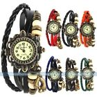Fashion Unisex Weave WRAP Around Leather Bracelet Lady Woman Quartz Wrist Watch