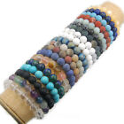 "Natural Gemstone Round Beads Stretch Bracelet Jewelry 7.5"" 4mm 6mm 8mm 10mm 12mm"