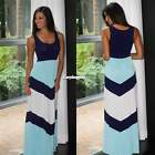 women navy & mint chevron colorblock tank maxi dress flared Skirts S-XL ES9P