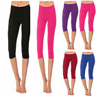 Girls Kids Dance Capri Leggings Shiny Lycra Gym Ballet School Legging Gymnastics