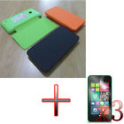 ER Flip PU Leather Battery Back Door Case Cover + 3x Film for Nokia Lumia 530