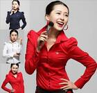 Button-Front Shirts Bodysuit Long Sleeve Blouse Top Col Red or Blue UK XS M L XL