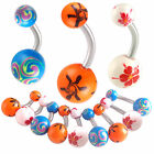 acrylic belly painted navel ring button bar body piercing 9ICM-PICK STYLE&SIZE