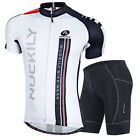NUCKILY Cycling bicycle outdoor Jersey+short Clothing Wear Bike Size M-2XL White