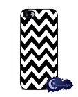 Black and White Chevron - Silicone Rubber Case for iPhone 5 & 5s, Cell Cover