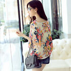 Women Girls Floral Batwing Sleeve Chiffon T-Shirt Casual Loose Blouse Tops