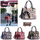 Ladies Floral Print Grab Bag With Bow Charm Womens Elegant Tote Quality Handbag