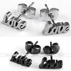 Pair Stainless Steel LOVE Letter Ear Stud Mens Womens Earring Fashion Jewelry