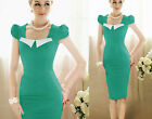 Women Vintage Rockabilly  Hot Shift Wiggle Pencil Midi Dress 008 UKLO@