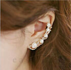 Korea Fashion Women's Ear Hook Plated Crystal Rhinestone Stud Ear Clip Earrings