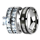 His Hers Wedding Ring Set CZ Cubic Zirconia Silver Stainless Steel es