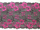 """NEW~Stunning Black & Pink Stretch Lace 7""""/19 cm Lingerie/Costume"""