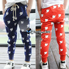 Autumn Girls Baby Child Kids Toddlers Princess Arrow Heart Pants Trousers 2-7Y