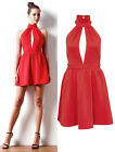 Summer Sexy Ladies Open Back Party Evening Ball Cocktail Skater Dress Red 6-12