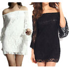 Women Lace Dress Sexy Off Shoulder Long Bell Sleeve Fashion