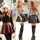 Women Faux Leather High Waist Skater Flared Pleated Short Mini Skirt Reliable
