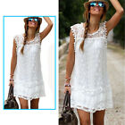 Fashion Summer Casual Sleeveless Evening Party Beach Mini Lace Dress Skirt New