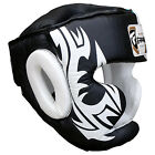 Boxing Head Guard Kick Boxing Head Protection Helmet Real Cowhide Leather Black