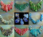 Gemstone Sea Sediment Serpentine graduated pendant loose beads set for necklace