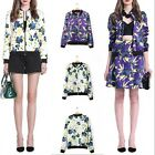 Womens Floral Printing Long Sleeves Fashion Casual Zipper Coat Outerwear FUS