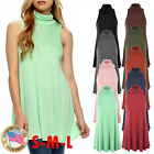 *CLEARANCE* Women's Sleeveless Mock Neck Turtleneck Tunic Top A-line Dress