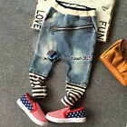 2017 Spring Boy Baby Child Kids Zipper Stripe Mixed Jeans Pants Trousers 3-8Y