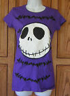 Nightmare Before Xmas Jack White Face Black Bats Purple T Shirt Top Licensed X